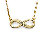 Engraved Infinity Necklace in 18k Gold Plating