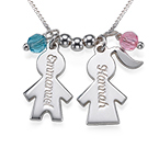 Engraved Grandmother Charm Necklace with Birthstones