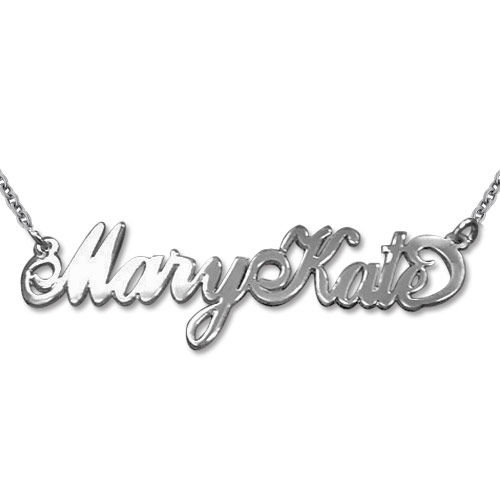 Extra Thick Two Capital Letter Silver Name Necklace