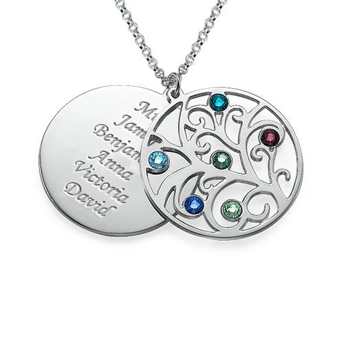 Filigree family tree birthstone necklace mynamenecklace