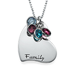 Gifts for a Mom - Engraved Heart Necklace with Birthstones