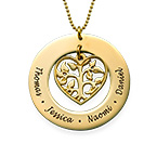 Heart Family Tree Necklace in 10k Gold