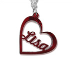 Heart Pendant Color Necklace with Name