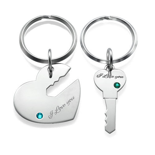 Heart and Key Keychain for Couples