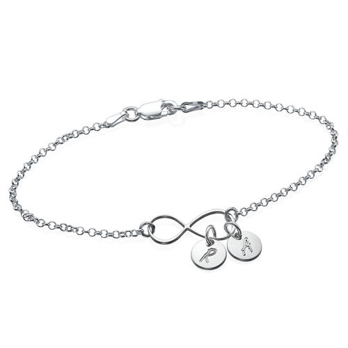 Infinity Bracelet Anklet With Initial Charms