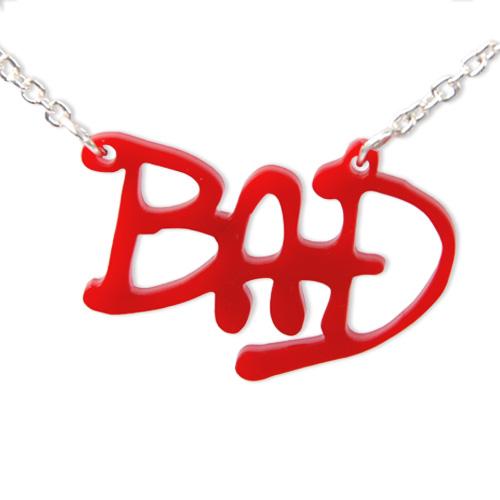 michael jackson u0026 39 s  u0026quot bad u0026quot  acrylic name necklace
