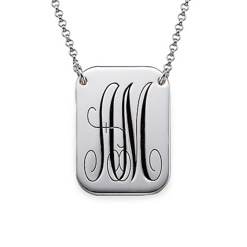 MyNameNecklace.com Monogrammed Dog Tag Necklace in Silver at Sears.com
