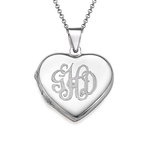 monogrammed heart locket necklace mynamenecklace