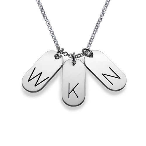 Multiple Initial Bar Pendant Necklace