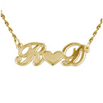 Personalized 14k Gold Couples Heart Necklace