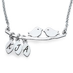 Personalized Bird Necklace in Silver
