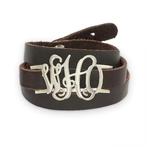personalized leather wrap monogram bracelet mynamenecklace