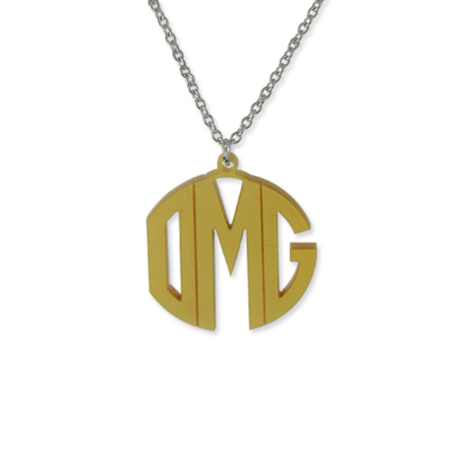 Personalized Block Acrylic Monogram Necklace