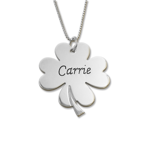 Personalized Shamrock Carrie Style Necklace  Mynamenecklace. Yellow Engagement Rings. Baptism Medallion. Metal Chains. Law Enforcement Bracelet