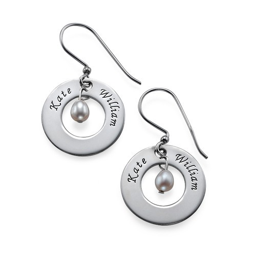 Personalized Two Names and Birthstone Earrings