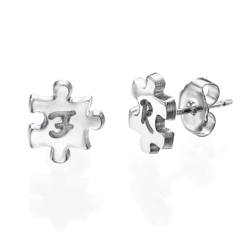 Puzzle Piece Earrings with Initial