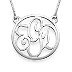 Round Monogram Necklace in Sterling Silver