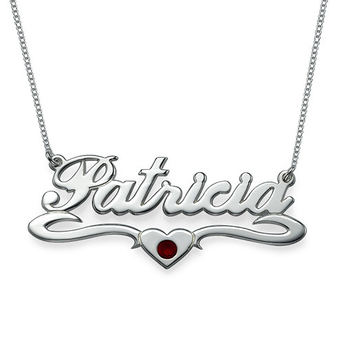 My Name Necklace Jewel-Silver Middle Heart Swarovski Crystal Name Necklace at Sears.com