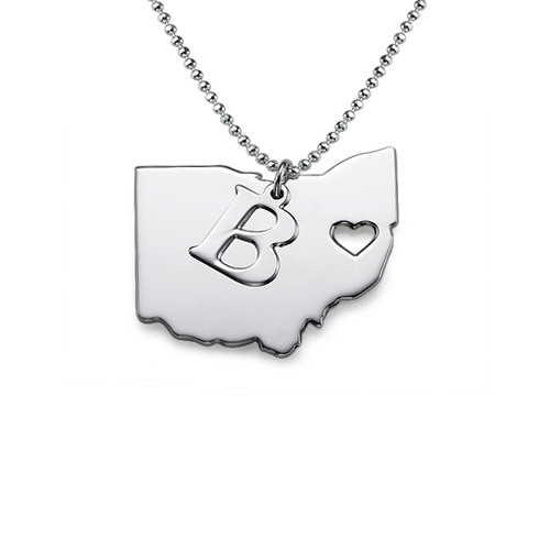 State Necklace - Personalized with your Initial - show off your state!