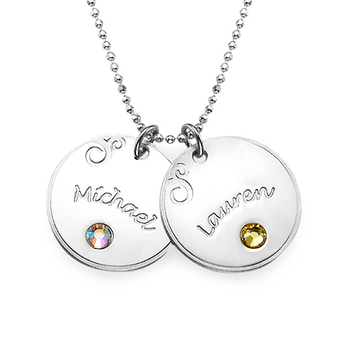 My Name Necklace Jewel-Sterling Silver Engraved Disc & Birthstone Necklace For Mothers at Sears.com