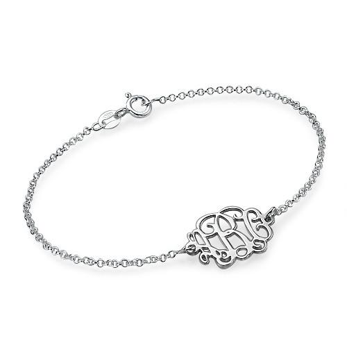 sterling silver monogram bracelet mynamenecklace. Black Bedroom Furniture Sets. Home Design Ideas