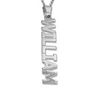 Vertical Design Silver Name Necklace