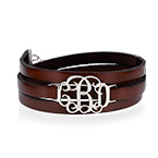 Wrap Around Monogram Leather Bracelet