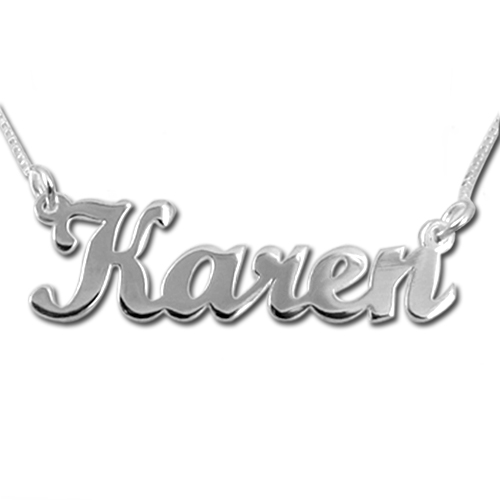 14k Solid White Gold Script Name Plate Necklace