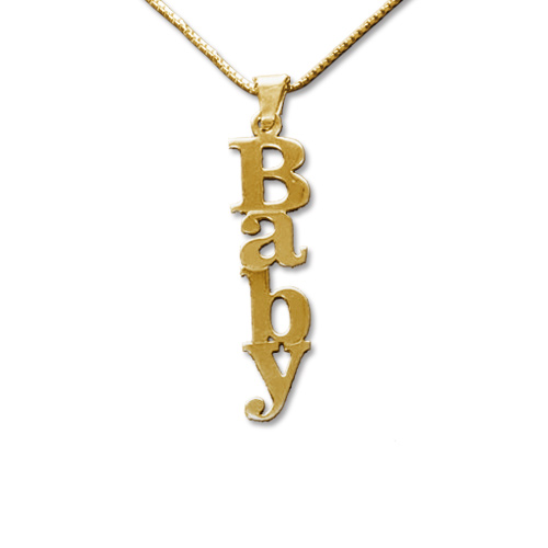vertical design 18k gold plated silver name necklace