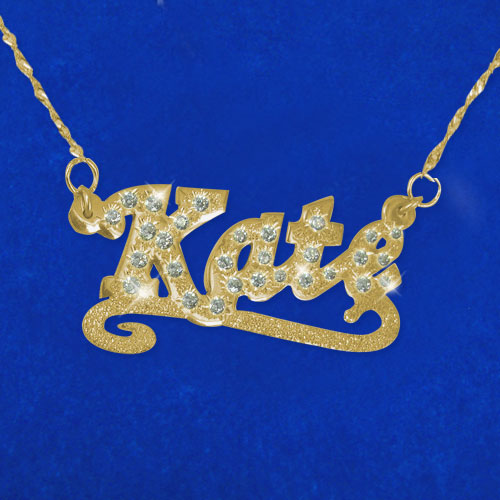 Cubic Zirconia 14k Solid Yellow Gold Double Thickness Name Necklace