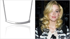 Engraved Bar Necklace Amber Heard