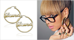 Beyonce with 18ct Gold Plated Silver Hoop Name Earrings