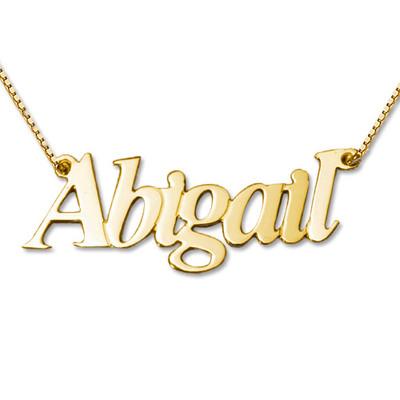 Collana con nome personalizzato doppio spessore personalizzata in oro 14k product photo