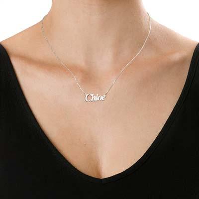 Collana con nome personalizzato stile angelo piccolo in argento - 1