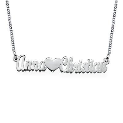 Collana Rinforzata In Argento Sterling con Doppia Coppia di Nomi