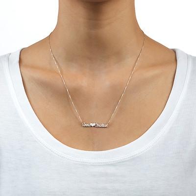 Collana Rinforzata In Argento Sterling con Doppia Coppia di Nomi - 1