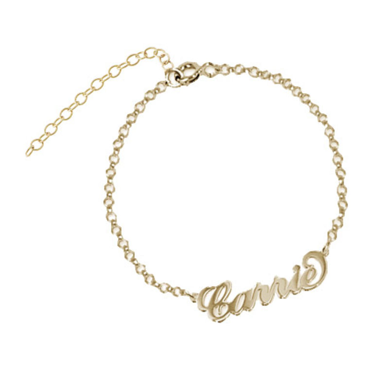 18k Gold-Plated Sterling Silver Carrie Style Name Bracelet / Anklet foto del prodotto