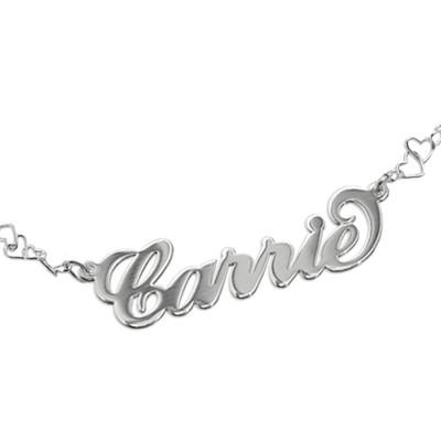 """Braccialetto / cavigliera personalizzabile stile """"Carrie"""" con catenina a cuori - 1"""