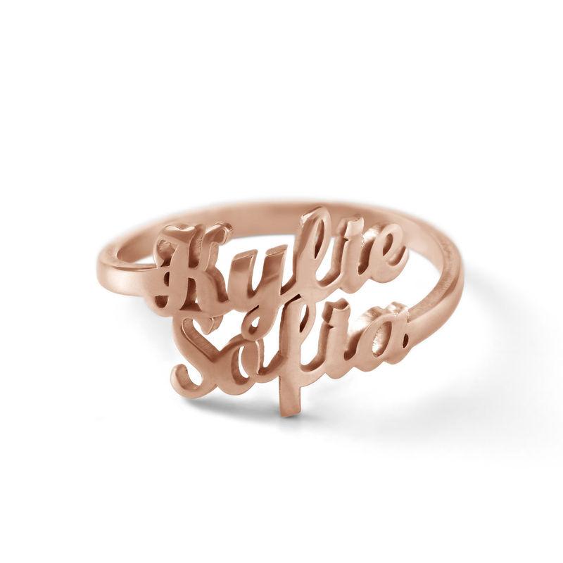 Anello Personalizzato con Due Nomi con Placcatura in Oro Rosa foto del prodotto