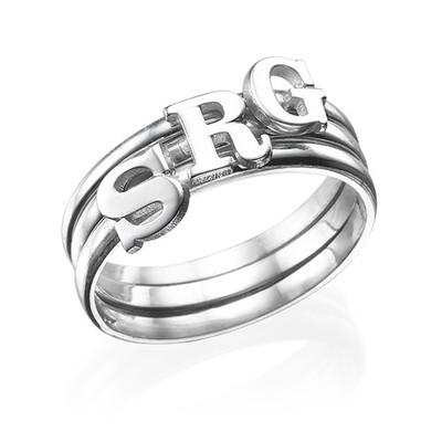 Anello con lettera maiuscola in Argento Sterling - 3