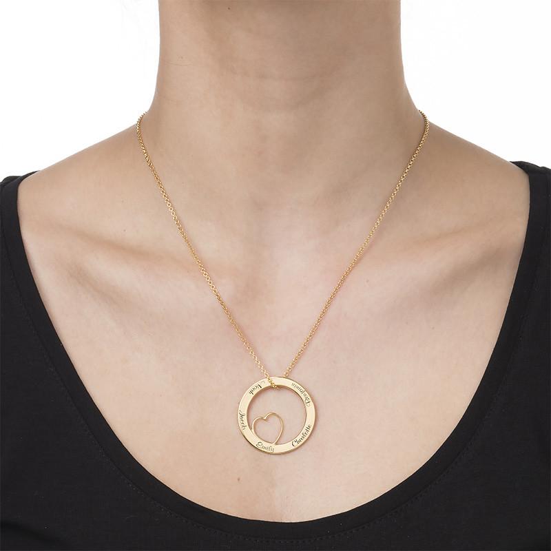 Collana con Pendente a Cerchio Amore per la Famiglia con Placcatura Oro - 1