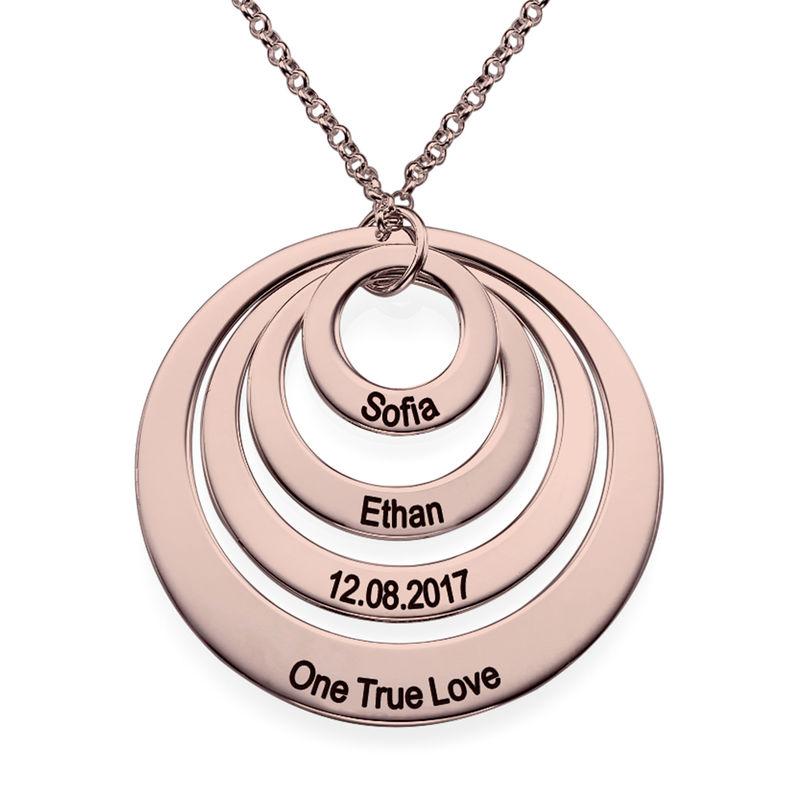 Collana a Quattro Cerchi con Incisione placcata Oro Rosa - 1