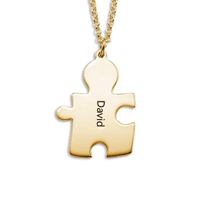Collana con il puzzle dell' amore in argento ricoperto da 18K d' oro - 2