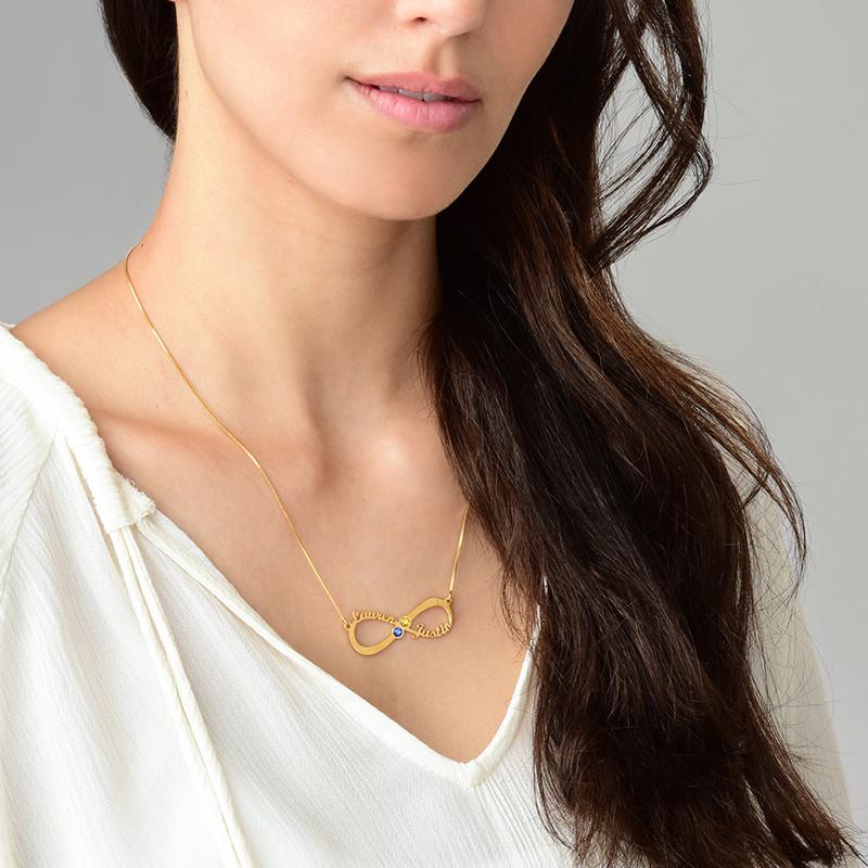 Collana Infinito con Nome e Pietre Portafortuna Placcata in Oro - 2