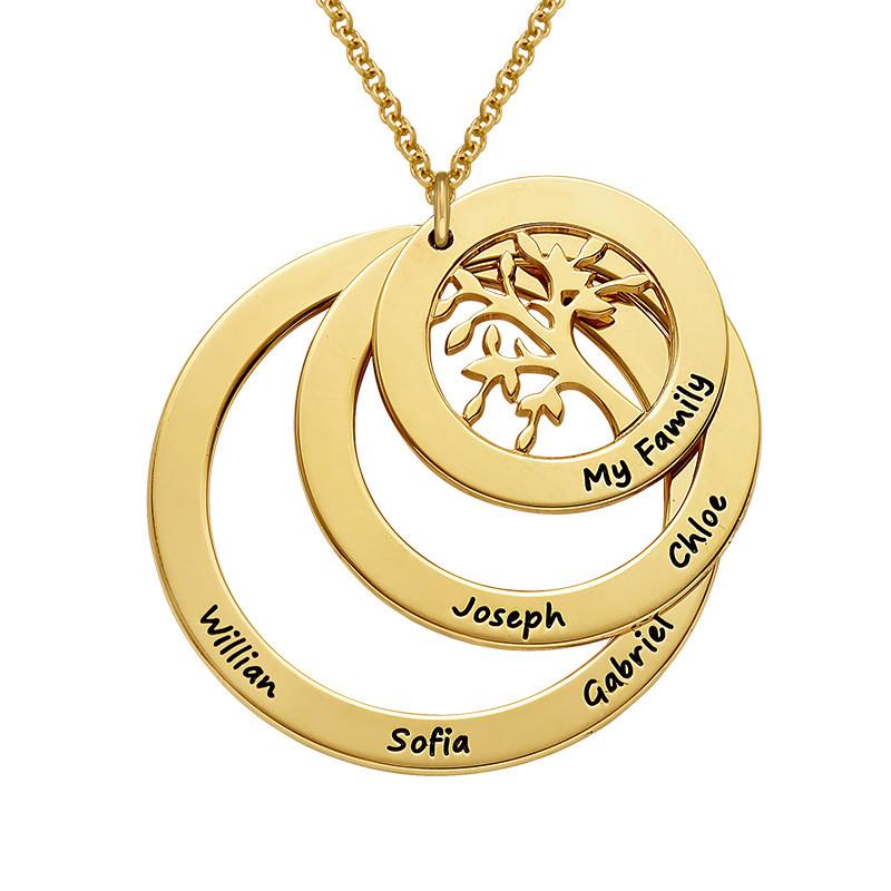 Collana Famiglia con Cerchi e Albero della Vita Placcata Oro - 1