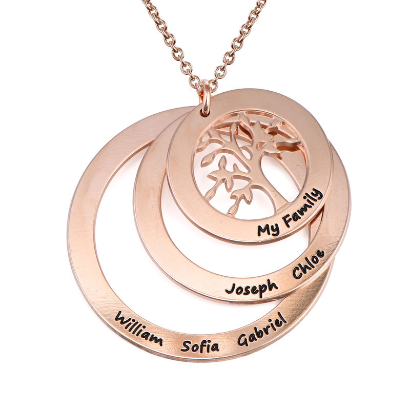 Collana Famiglia con Cerchi e Albero della Vita Placcata Oro Rosa - 1