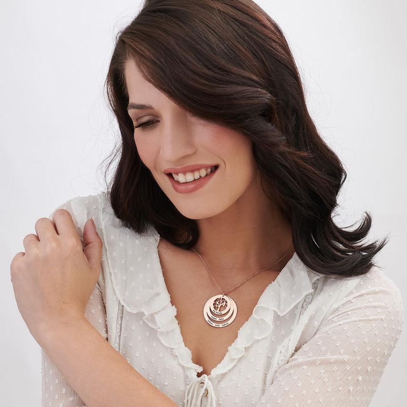 Collana Famiglia con Cerchi e Albero della Vita Placcata Oro Rosa - 2