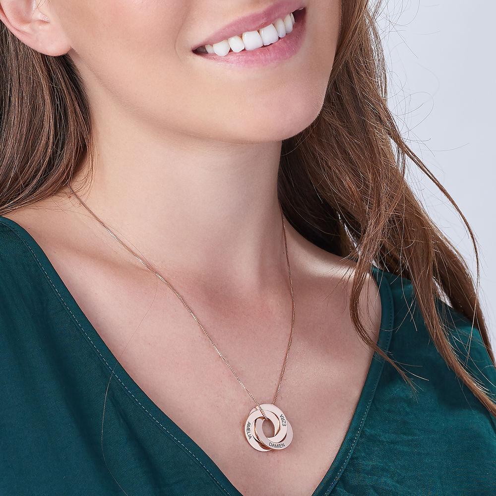 Collana con Anello alla Russa con Incisioni – Placcata in Oro Rosa - 2