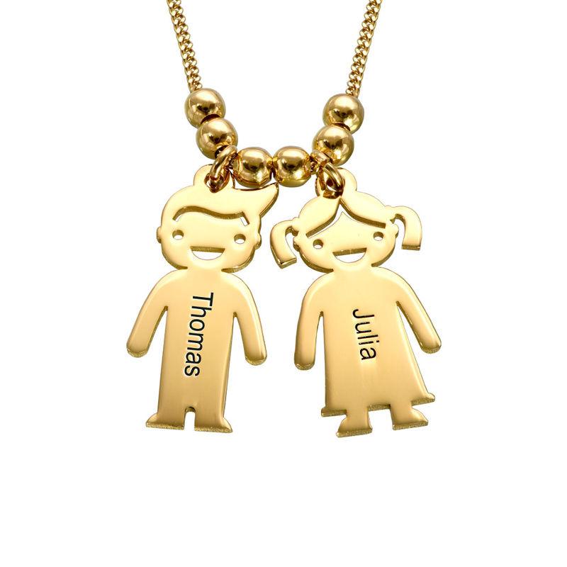 Collana della Mamma con Charm Bimbi Incisi in vermeil d'oro