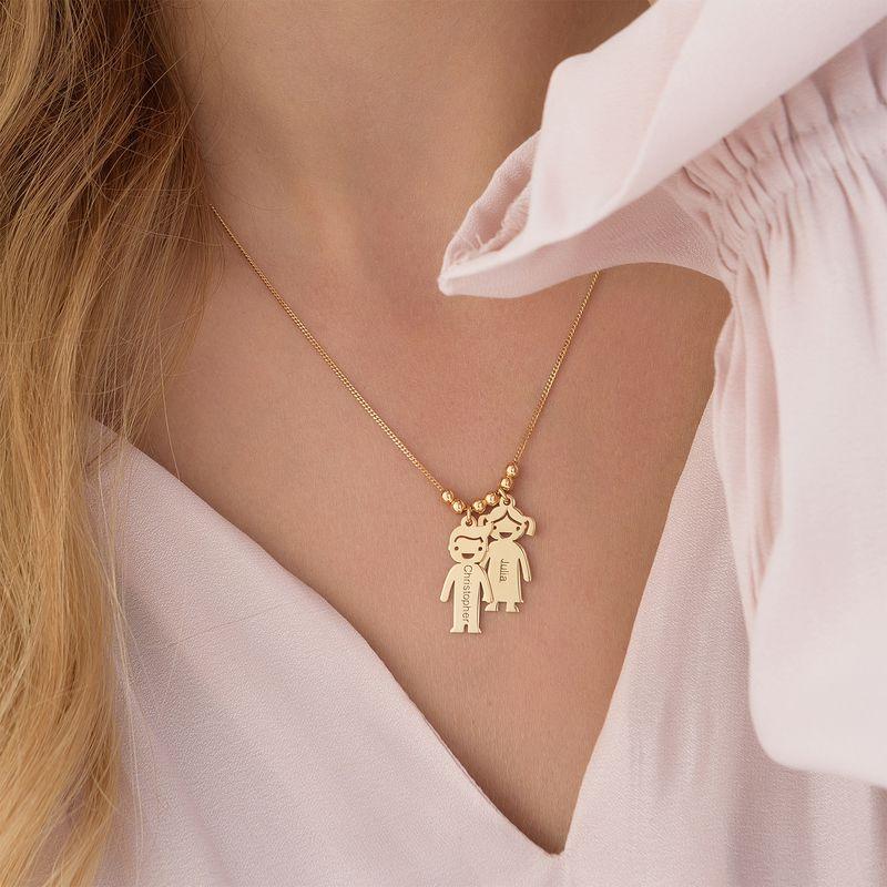 Collana della Mamma con Charm Bimbi Incisi in vermeil d'oro - 5